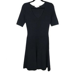 Gerard Darel Black Ribbed Fit & Flare Dress 1